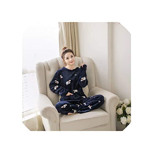 Autumn Winter Women Pajamas Sets Thick Warm Coral Velvet Suit Flannel Long Sleeve Elegant Floral Sleepwear,Polar Bear,L ()