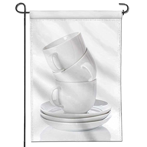 SCOCICI1588 Polyester Garden Flag stack of white china cups and saucers on a white background for Wedding Home Outdoor Garden Decor 12