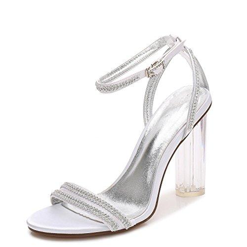 L@YC Zapatos De La Boda De Las Mujeres F2615-5 Seda Del Dedo Del Pie abierto De Cristal Con Tacones/Bola SintéTicos Del Diamante White