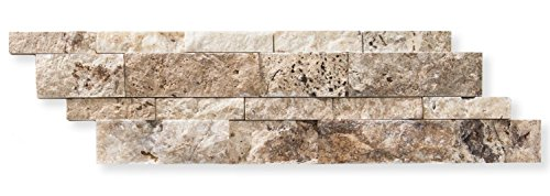 Philadelphia Travertine 6 X 20 Stacked Ledger Wall Panel Tile, Split-faced (SMALL SAMPLE PIECE)