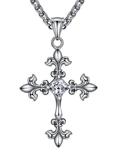 (Aoiy Men's Stainless Steel Fleur-de-lis Cross Pendant Necklace, 24