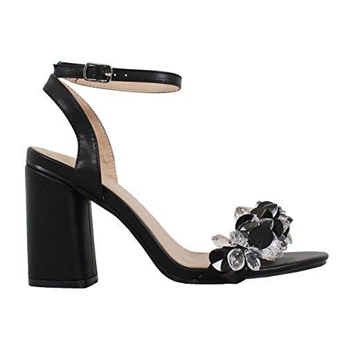 Metallic Glitter Dress Sandals - Yoki Metallic Open Toe 3D Crystal Heels Ankle Straped Dress Sandals Alaina-09 Women's Shoes,Black,6