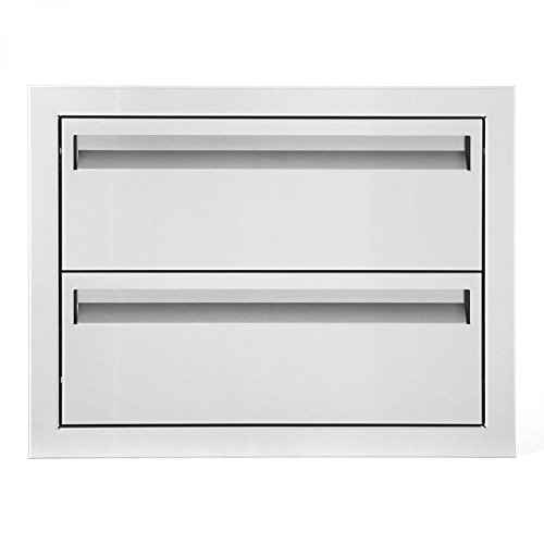 BBQGUYS Aspen Series 20-Inch Stainless Steel Double Access Drawer