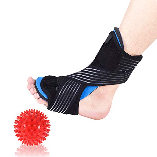 Plantar Fasciitis Night Dorsal Arch Support Pain Foot Drop Ankle Brace for Sleep with Hard Spiky Message Balls (Blue)