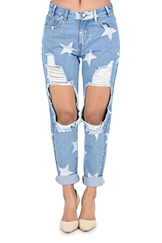 G Style Usa Womens Star Print Cut Out Cuffed Boyfriend Jeans Rjh868   Light Blue   Small   Bb10c