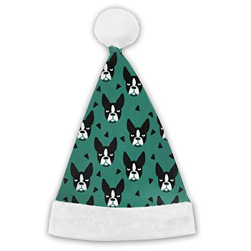 onevewo Cute Boston Terrier Xmas Party Santa Costume Hat Christmas Hat Delicate Printing Headdress Party Hat White