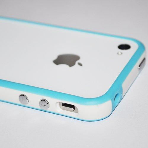 G4GADGET® Iphone 4S/4 Silicon Bumper White/Blue