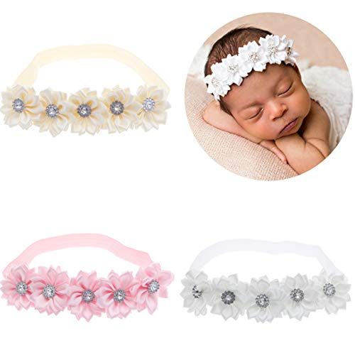 (lebo Baby Girl Headbands with Bows Baby Baptism Headbands 3pcs/lot)