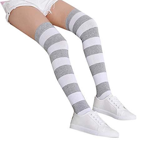 Long Sock for Girls Womens Striped Over Knee Thigh Long Knitting Socks Cute Cosplay Costume Stockings(B)