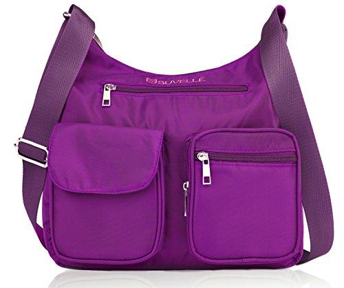 RFID Handbag Shoulder BA10 Blocking Bag Lightweight Morado Suvelle Multi Carryall Pocket Crossbody Travel Protection qftx4RPw