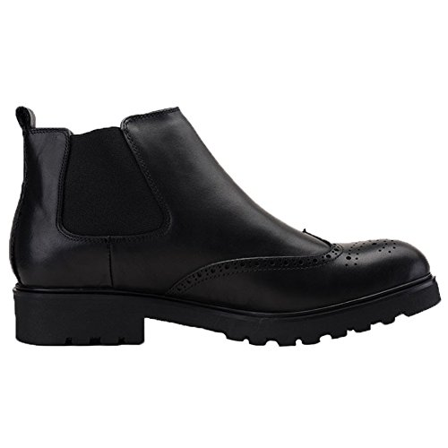 Dress Elastics Black Wingtip Boots Slip Men's Brogue Chelsea on Leather Fur Santimon E0qOTxUw