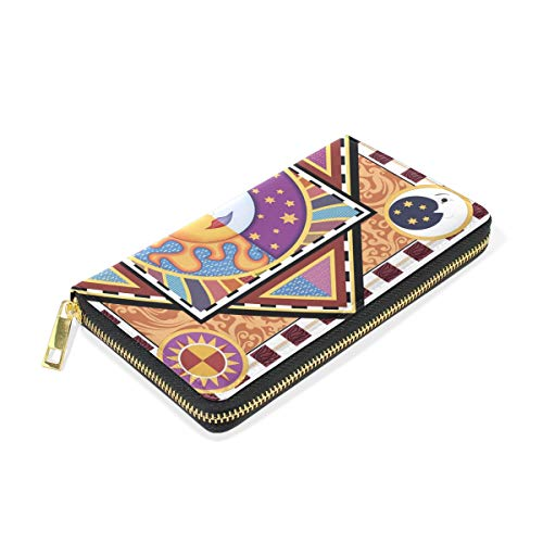 And And Wallet TIZORAX Sun Moon Ethnic Zip Clutch Organizer Purses Handbags Womens Around rTTE7qwx