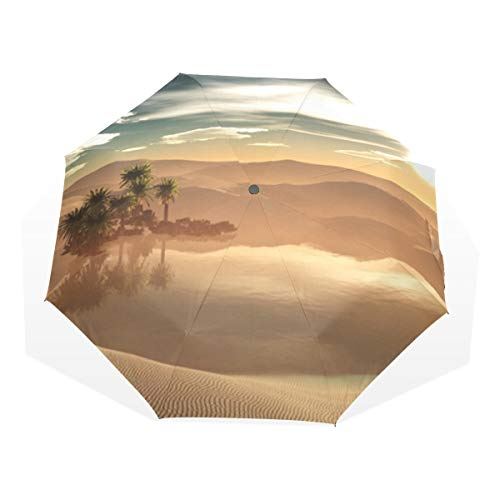 Ladies Folding Umbrella Oasis In The Desert 3 Fold Art Umbrellas(outside Printing) Folding Umbrella Travel Rain Umbrella Kids Wind Proof Travel Umbrella