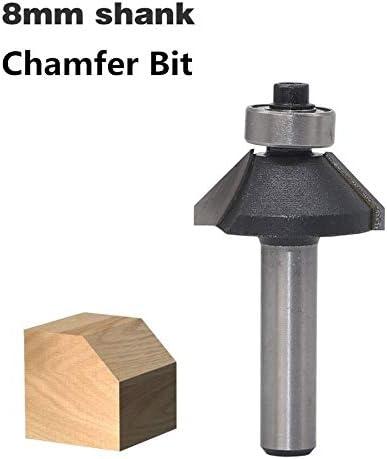 NO LOGO 1pc 8mm Schaft Zwei Flute 45 Grad Fasen Holz Fräser C3 Carbide Holzbearbeitungswerkzeuge Cutter for Holz (Größe : As Show)