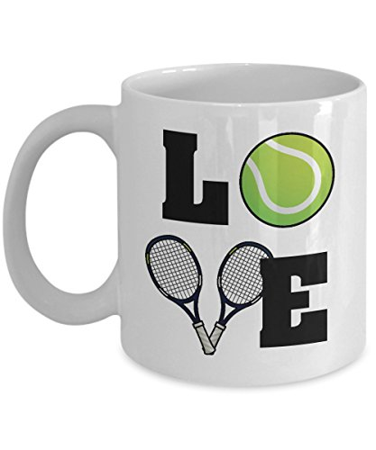 Love Tennis Ball and Racket Coffee & Tea Gift Mug, Gifts and Accessories for Men & Women Tennis Player ()