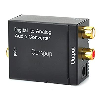OURSPOP Digital to Analog Audio Converter Toslink + Coaxial with L/R output for Amzon Fire TV,digital LED TV, network player, etc