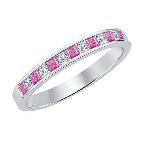 Princess Cut Pink Sapphire & Diamond .925 Sterling Silver Engagement Wedding Band Ring for Women's