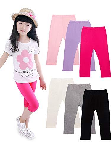 6 Pieces Girls Capris Leggings Cotton Crop Summer Leggings for School Wearing (8T - 9T)