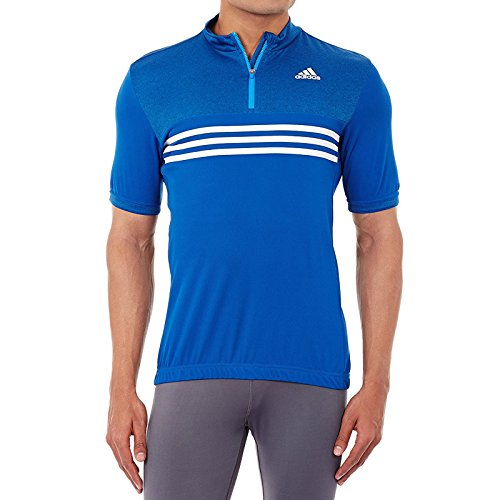 adidas Performance Mens Zipped Cycling Jersey - Blue - S - Adidas Bicycle