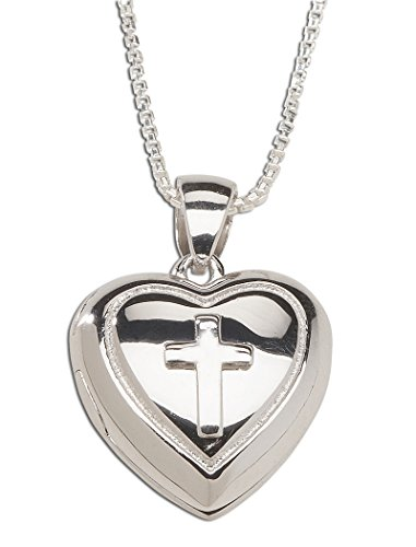 Girl's Sterling Silver First Communion Cross Heart Locket Necklace (Religious Locket Necklace)