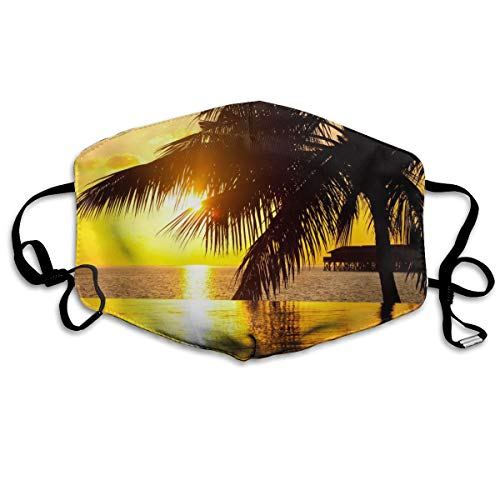 YUIOP Tahiti Summer Sunset of Beach Printed Mask Neutral Mask for Men and Women Polyester Dust-Proof Breathable Mask