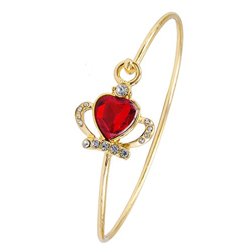 BEICHUANG Easy Open Wire Cuff Red Rhinestone Heart Crown Bangle Bracelet (gold) - Open Heart Cuff
