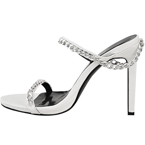Las Nuevas Sandalias De Moda Del Partido Del Tacón Alto De La Moda Sedientos Calzan Los Zapatos De La Cadena El Tamaño De Imitación De Cuero Blanco