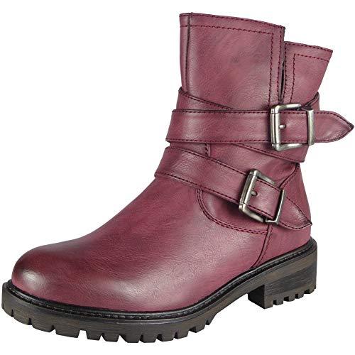 3 Chaussures Boucle Branch mollet Dames Hiver Bottines Taille Look Vin Femmes Biker Mi Dcontractes Zippe 8 WO1qAwvg0