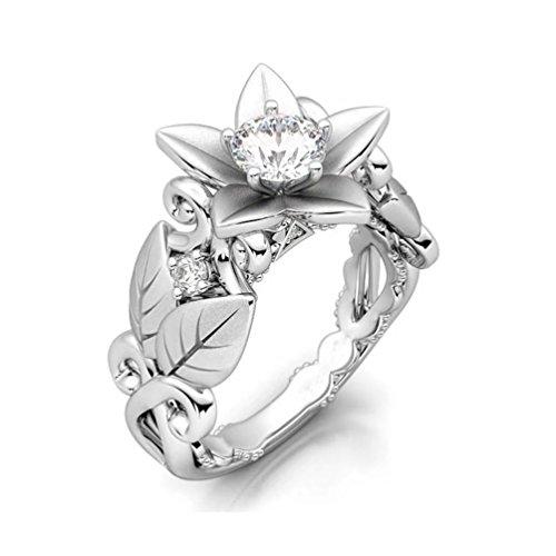 FENDINA Vintage Inspired CZ Engagement Wedding Ring Lotus Flower Leaf Shank Rose Gold Plated Created 1ct Diamond Statement Eternity Rings Size 9