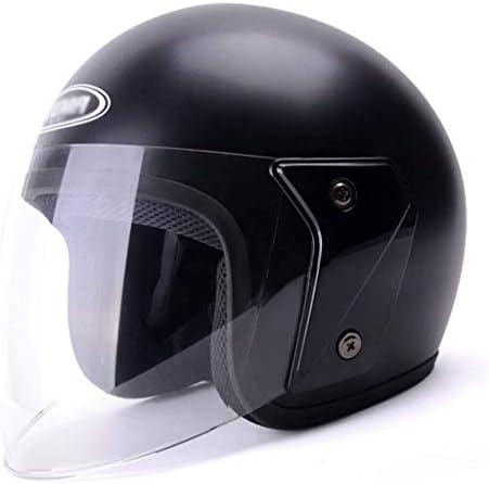 RMXMY ポータブル電動オートバイヘルメット秋と冬の路面電車のヘルメットの女性四季防曇ハーフヘルメット暖かい (Color : Black)