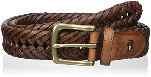 Tommy Hilfiger Leather Braided Belt - Casual for Mens Jeans with Solid Strap Single Prong Buckle, Saddle, 44