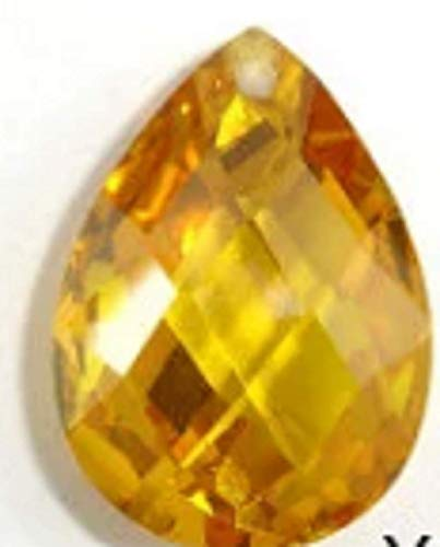 Cubic Zirconia Beads, 13x18mm Faceted Pear Briolette Pendant Beads, 1 Piece #BXP_4693 (Yellow)