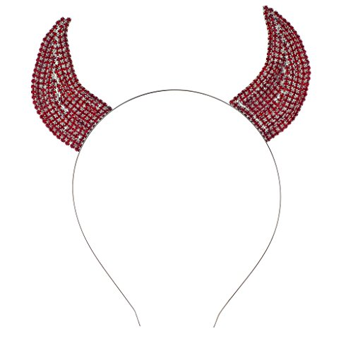 Ears Devil (Lux Accessories Halloween Festive Red Rhinestone Bling Devil Horn Ears Headband)