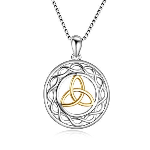 LUHE Irish Jewelry Sterling Silver Gold-Tone Triquetra Trinity Celtic Knot Pendant Necklace, Christmas Jewelry Gifts for - Celtic Tone Cross Gold