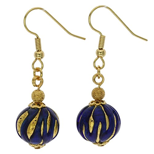 (GlassOfVenice Murano Glass Royal Blue Ball Earrings)