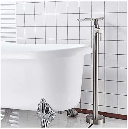 独立したバスタブの蛇口真鍮の浴室の滝浴槽フィラーセットシングルハンドルフロアマウントバスシャワーミキサータップホットとコールドウォーター,Brushed nickel