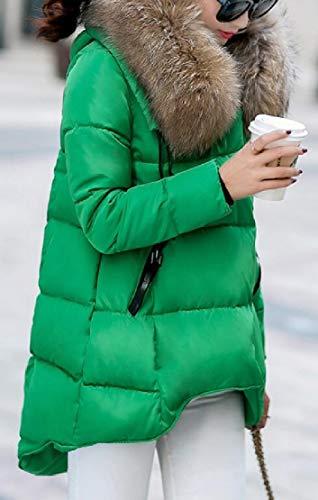 Foderato Peluche off Pelliccia Verdi Alternativa Donne Ttyllmao Ricoprono Lunghe Zip Cappuccio Finiture Della Giù Puffer Della xwCBO0zPq