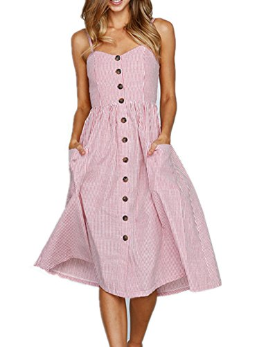 Womens Summer Floral Bohemian Spaghetti Strap Sleeveless Swing Midi Dress with Pockets (Small, Pink(0913))