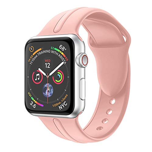 Harpi 2018New Fashion Single Stripe Silicone Bracelet Watchband Fit Apple Watch 4 40mm/44mm Wristband Strap Replacement (Pink, 44mm)