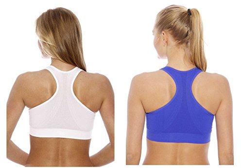 Just Intimates espalda cruzada sujetador deportivo para mujer (Pack de 2) bright navy, white
