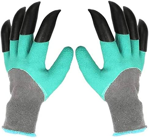 2 Pairs Garden Gloves with Genie Claws in Green Color for Plowing or Dig