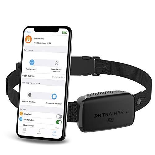 Dr.Trainer B1/B1Pro Bark Collar with Smartphone APP Control/Watch APP, Anti Barking Collar Smart Progressive Mode with…