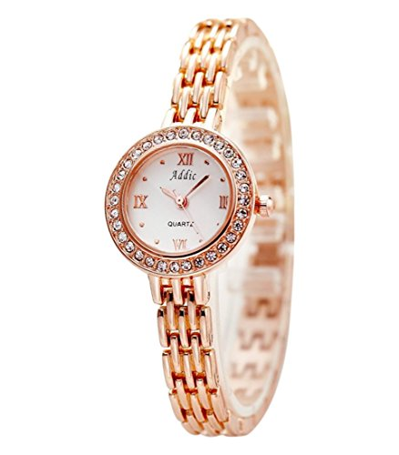 Addic  White Dial Stone Studded Rosegold Watch For Womens &