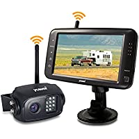 Wireless Backup Camera System, IP69K Waterproof Wireless Rear View Camera + 5'' LCD Wireless Reversing Monitor for Trailer, RV, Trucks, Horse-trailer, School Bus, Farm Machine,etc