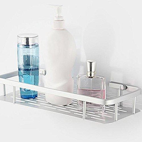 Wall Storage Shelf, Single-deck/Double-deck Aluminium Storage Rack -Kitchen Home Balcony Shelf Rack Hook-Bathroom Shower Bath Holder for Shampoos/Shower Gel (Single-deck no ()