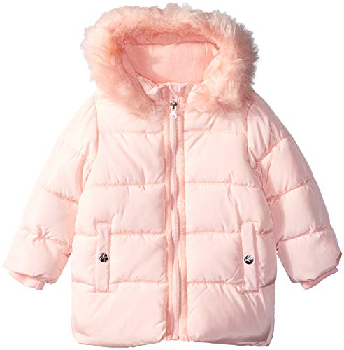 - Jessica Simpson Baby Girls Bubble Jacket with Faux Fur Hood, Blush, 18M