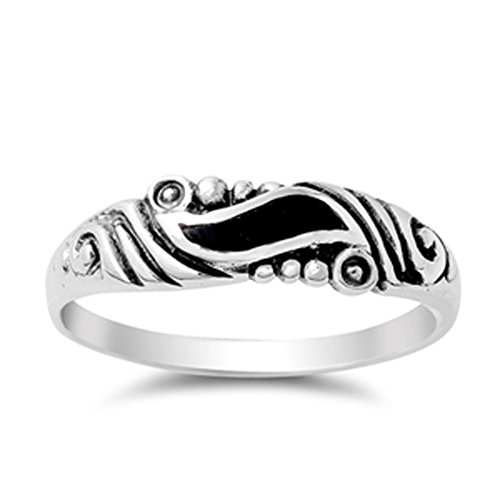(Women's Wave Simulated Black Onyx Wholesale Ring New .925 Sterling Silver Band Size)