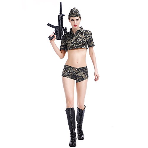 POP Style 3 pcs Sexy Camouflage Soldier Girl Uniform Halloween Costume (S) (Sexy Army Uniforms)