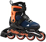 Rollerblade Microblade Boy's Adjustable Fitness Inline Skate, Midnight Blue and Warm Orange, Junior, Youth