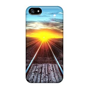 New Saraumes Super Strong Railroad Sunset Tpu Case Cover For Iphone 5/5s